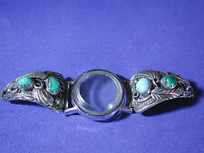 "Pre-Owned Navajo ""Justin Moris"" Silver Turquoise Watch Tips Band Signed"