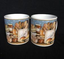 Pantry Crockery David Carter Brown 2004 Kitchen Fruit Pie Coffee Mug Set of 2