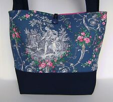 BLUE TOILE NAVY DENIM PURSE TOTE HANDBAG RETRO STYLE OLD WORLD CHARM