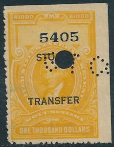 DR JIM STAMPS US SCOTT RD24 $1000 STOCK TRANSFER USED NO RESERVE PUNCH CANCEL