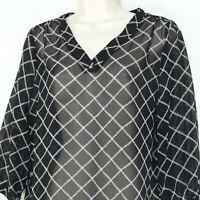 Old Navy V-neck Tunic Top Sheer Women Size M Black White Geometric 3/4 Sleeve