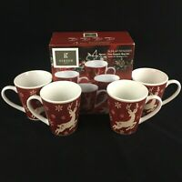 Set of 4 Ceramic Mugs 14oz by Gibson Home Burlap Reindeer Christmas Rustic NEW