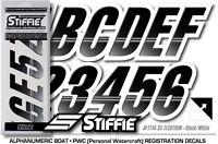 STIFFIE Techtron TT19 Boat PWC Letter Number Decal Registration BLACK METAL GOLD