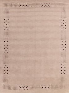 Contemporary Bordered Ivory Gabbeh Oriental Area Rug Hand-Knotted Carpet 8x11