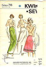 Vintage 1970s Kwik Sew Sewing Pattern Women's HALF SLIPS LONG 716 XS-S-M-L UNCUT