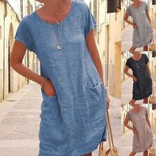 Women Summer Crew Neck Short Sleeve Midi Dress Solid Casual Loose Pocket Dress