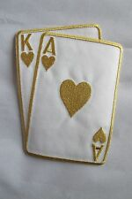 "#2265L 5-1/2"" Gold Poker Card Ace & King Of Hearts Embroidery Applique Patch"