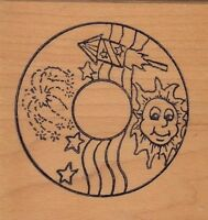 "july 4 circle stamps in motion Wood Mounted Rubber Stamp  2 x 2""  Free Ship"