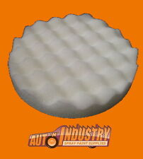 1 X WHITE FOAM WAFFLE PAD 200mm FOR CUTTING / COMPOUNDING AUTO PAINT.SUIT VELCR0