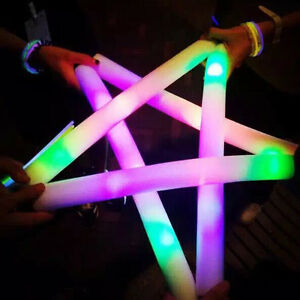 10x Light Up Foam Sticks LED Wands Rally Rave Batons DJ Flashing Glow Stick L8Z1