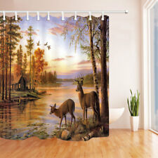 Animal Theme Fabric Shower Curtain deer and forest river Bathroom Waterproof