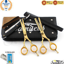 Professional Barber Hairdressing Scissors Set 5.5 _ THE GOLD Edition & RAZOR Kit