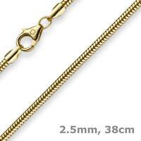 2,5mm Kette Collier Schlangenkette aus 585 Gold Gelbgold, 38cm, Damen, Goldkette