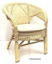 Lounge Chair Pilangi ECO Handmade Rattan Wicker Thick Cushions Color Cream