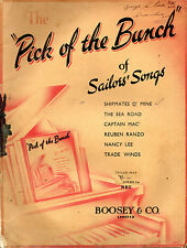"""SHEET MUSIC - """"THE PICK OF THE BUNCH OF SAILORS SONGS"""" - BOOSEY & Co. (c.1938)"""