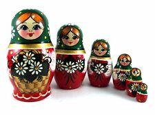 Nesting Dolls Russian Matryoshka Babushka Stacking Wooden Handmade New set 6 pcs