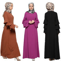 Dubai Style Muslim Women Long Sleeve Abaya Jilbab Loose Cocktail Maxi Dress New