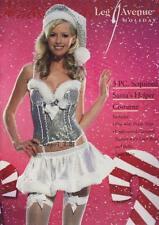3 PC Sequined Sex y Santa's Helper Costume -Ladies Xmas Adult Fancy Dress Size L