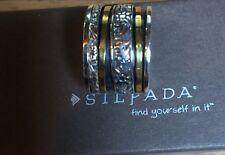 "Silpada ""Twirl Ring"" R2293 Size 6 NIB Spinner Sterling Silver+Brass"