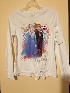 Disney Frozen II 2 Girls Long Sleeve T-Shirt Elsa Anna Size XL 14-16 Side Tie