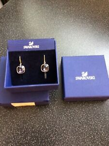 Swarovski pale pink square earrings; pierced ear; in original box; exc condition