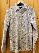Simon Carter Azul Floral Estampado Camisa Tamaño Grande Slim Fit RRP £ 75 BNWT