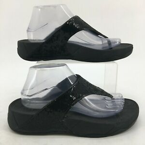 FitFlop Electra Flip Flops Sandals Womens 9 Black Sequins Casual Thong Wedge