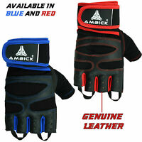 Leather Gym Gloves Weight Lifting Grip BodyBuilding Fitness Strength Training AU