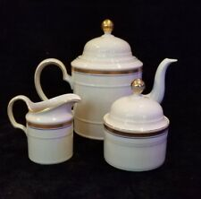 Seltmann Weiden Regina West Germany White, Blue And Gold Tea Pot, Creamer, Sugar