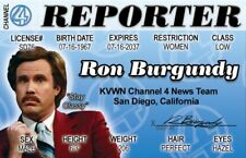 Ron Burgundy Reporter fake Id i.d. card Drivers License