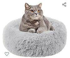 Pet Nest Cushion Plush Round Cat/Dog Bed Ultra Soft Donut (50CM, Light Gray)
