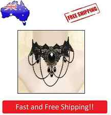 Black Rhinestone Victorian Choker Velvet Necklace Steampunk Gothic Burlesque