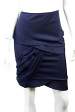 GUCCI Navy Blue Silk Blend Asymmetrical Ruched Tiered Mini Skirt - Size US 6