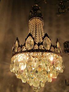 Antique French HUGE Basket Crystal Chandelier Lamp Lustre Luster1940's 12in Ø*,,