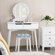 Vintage White Dressing Table Set With Adjustable Oval Mirror and Padded Stool B5