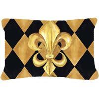 Carolines Treasures 8125PW1216 Black And Gold Fleur De Lis New Orleans Indoor...