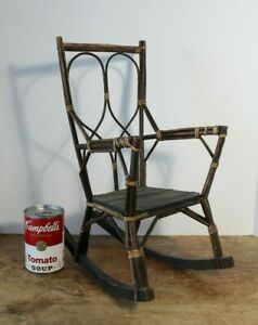 Antique 19thC Victorian Bamboo Doll Rocking Chair