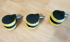 3 New Office Chair Casters Twin Wheels Replacement Parts Swivel 3 Pc Set Wheel
