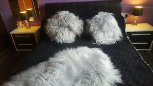Large Luxury Icelandic Sheepskin Rug Cover Bed Grey 100% Natural Decoration