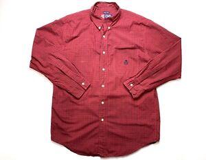 Chaps Shirt Mens Medium Button Up Close Long Sleeve Check Print Ralph Lauren