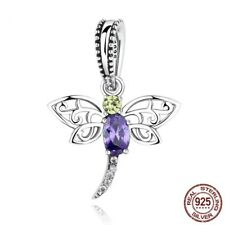 Dragonfly Purple Dangle Charm Genuine Sterling Silver 925 Fits European Bracelet