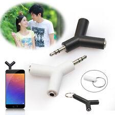 2× 3.5mm Stereo Audio Jack Earphone Headphone 2 Way Y Splitter Adapter Keyring