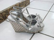 White House Black Market Platform Sandals Shoes Sophie Gray Weave 8 1/2 M
