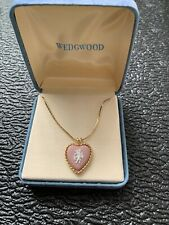 Vintage Wedgwood Cameo Charm Heart Pendant Necklace