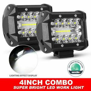 Firebug Pair 4 inch Work Lights Spot Flood LED Light Bar Reverse 4WD 12V 24V