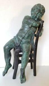 Vintage Maitland Smith Bronze Verdigris Boy In Chair Sculpture