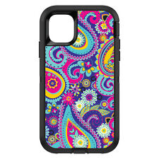 CUSTOM OtterBox Defender for Apple iPhone Hot Blue Yellow Pink Paisley