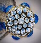 Dazzling Gargantuan Mike-High🌀SCHREINER🌀Iridescent Blue Stones🌀BROOCH PIN