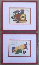 Kids Pictures Painting Carol Robinson Prints Train and Plane Matted And Framed