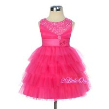 Beaded Satin Tulle Formal Party Pageant Wedding Flower Girl Dress Sz 2T-8 FG308